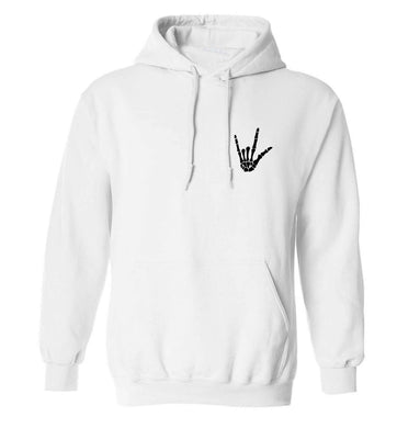 Skeleton Hand Pocket adults unisex white hoodie 2XL