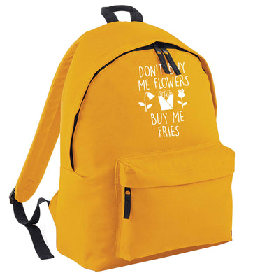Don't buy me flowers buy me fries mustard adults backpack
