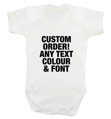 Custom order any text colour and font baby vest white 18-24 months
