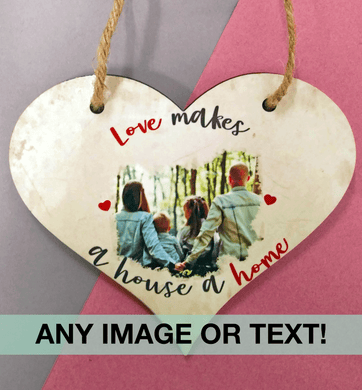 Love heart plaque MDF any image or text