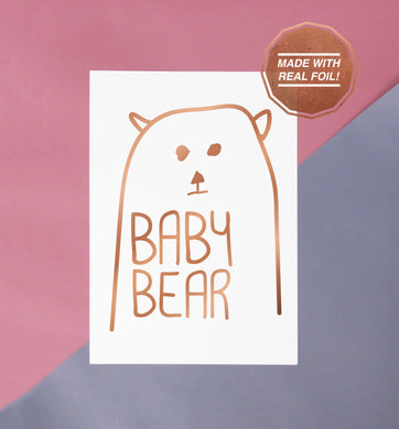 baby bear rose gold foiled print perfect for nurseries and playrooms cute matching family gift