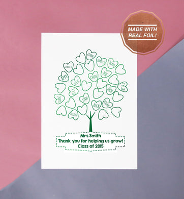 end of year teachers gift from the class, a foil printed tree with the children's names inside the leaves shaped as hearts, the print is entitled thank you for helping us grow underneath with the teachers name above the quote and the class year below the quote