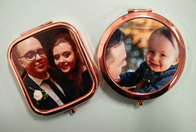 Personalised rose gold pocket mirrors | Custom order any text colour and font | Round or Square | Flox Creative