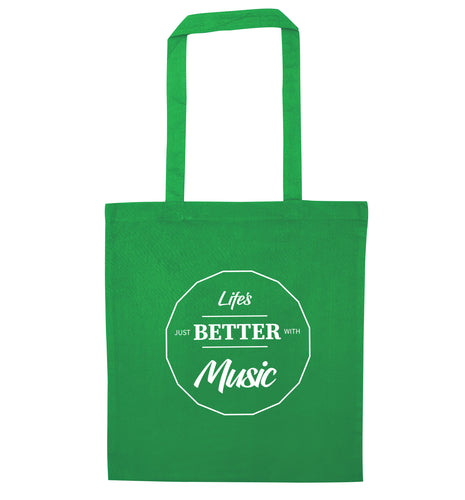 Life is Better With Music green tote bag