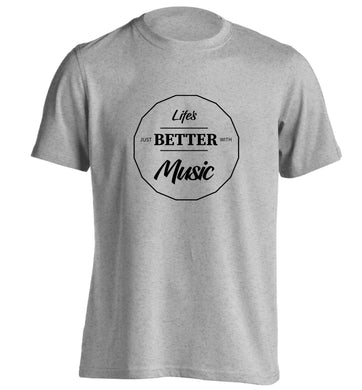 Life is Better With Music adults unisex grey Tshirt 2XL