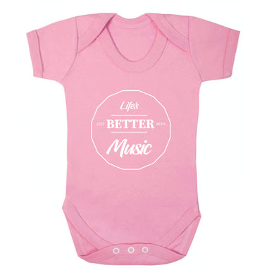 Life is Better With Music Baby Vest pale pink 18-24 months