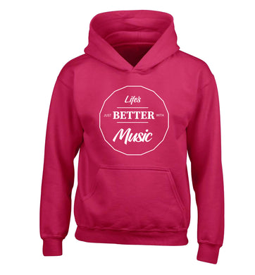 Life is Better With Music children's pink hoodie 12-13 Years