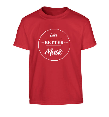 Life is Better With Music Children's red Tshirt 12-13 Years