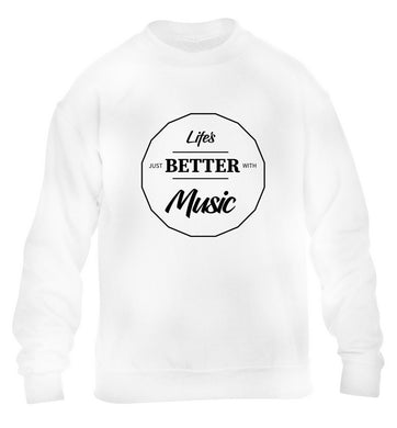 Life is Better With Music children's white sweater 12-13 Years