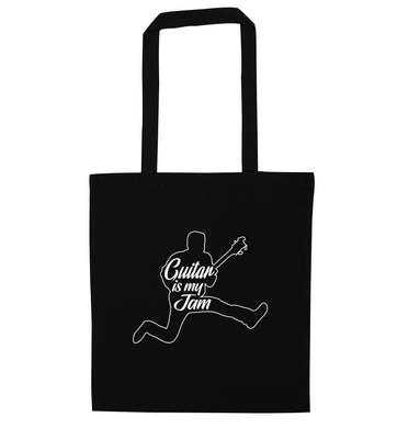 Guitar is my jam black tote bag
