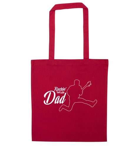 Rockin out with dad red tote bag