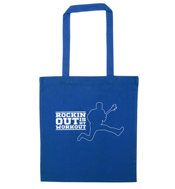 Rockin out is my workout blue tote bag