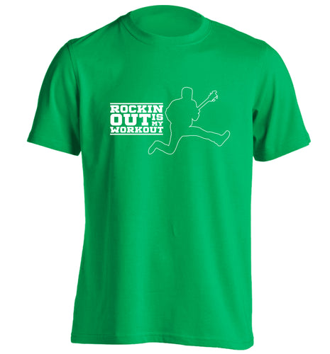 Rockin out is my workout adults unisex green Tshirt 2XL