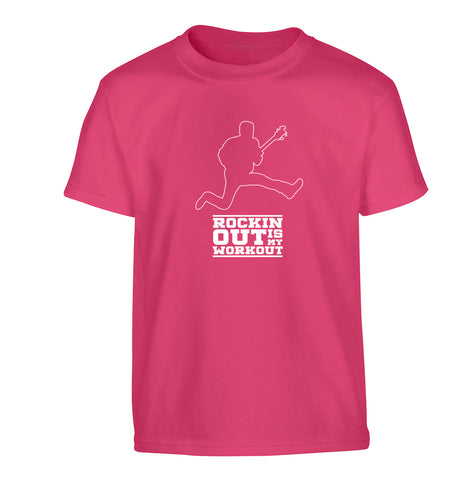 Rockin out is my workout 2 Children's pink Tshirt 12-13 Years