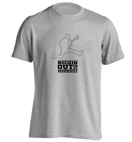 Rockin out is my workout 2 adults unisex grey Tshirt 2XL
