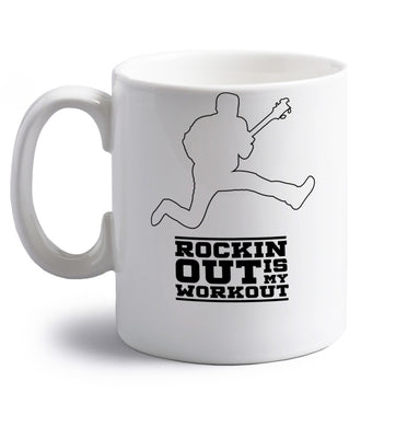 Rockin out is my workout 2 right handed white ceramic mug