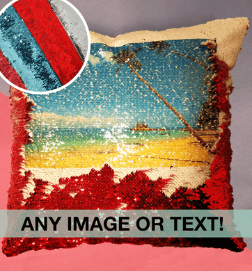 Any photo or text | Sequin reveal cushion | Red, blue, pink or silver sequins | Custom order any text colour and font | Flox Creative