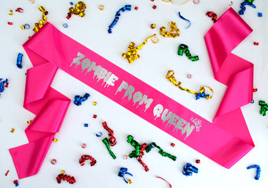 Zombie prom queen pink sash metalling silver text