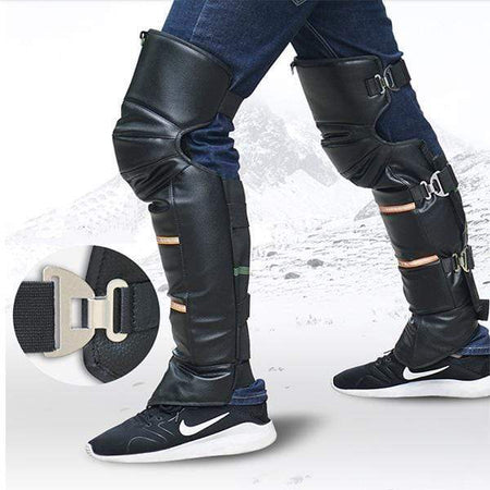 Unisex Black Leather Warm Knee Pad Leg Warmer Protector Motorcycle Knee Protector Protective Half Chaps Leggings Covers Adjustable Strap Windproof for Winter Wind Snow Bike Motorcycle Rider