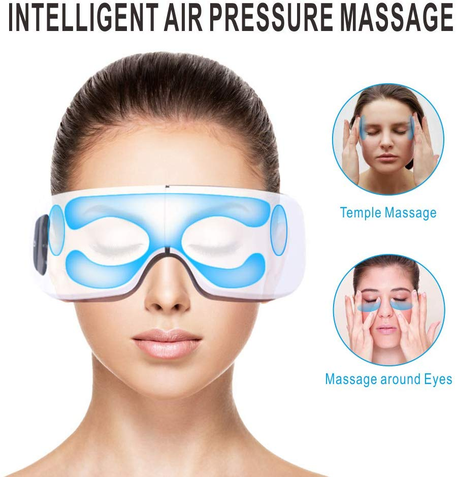 Smart Eye Massager Air Compression Eyes Massage for tired eyes Heated Goggles Anti Wrinkles Dark circles remove/Travel case - Volterin