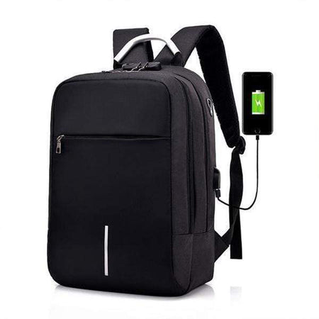 Waterproof Anti-Theft Laptop Backpack, USB Charging Port, Travel Backpacks Black