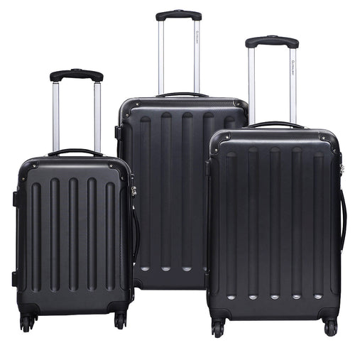 3 Piece Set Luggage GLOBALWAY Hardshell Travel Carry on Suitcases, Luggage Trolley Case Set (Black)