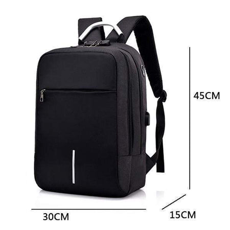 Waterproof Anti-Theft Laptop Backpack, USB Charging Port, Travel Backpacks Black - Volterin