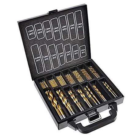 Twist Drill Bits Set 99 PC by Volterin, HSS, Metric Titanium Coated Steel 1.5mm - 10mm Size, High Speed Drill Bits Set for Metal, Steel & DIY Use