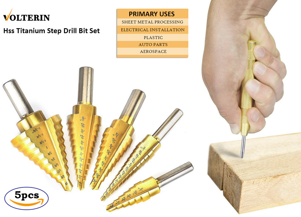 5 PC Titanium Step Drill Bit Set with Automatic Center Punch, High Speed Steel Drill Bits Set for Sheet Metal with Pouch, Best Bits for DIY Lovers