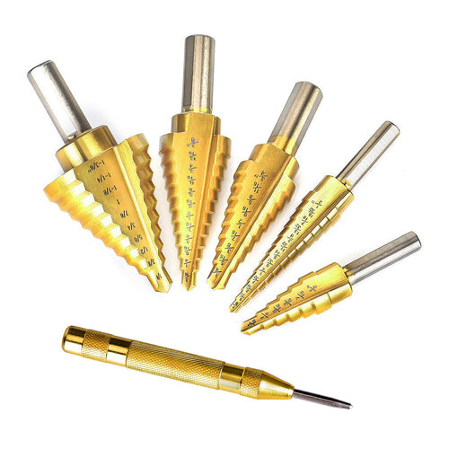 5 PC Titanium Step Drill Bit Set with Automatic Center Punch, High Speed Steel Drill Bits Set for Sheet Metal with Pouch, Best Bits for DIY Lovers - Volterin