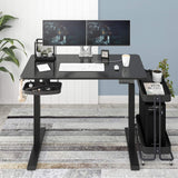 Electric Height Adjustable Standing Desk, 48 x 24 Inches Sit Stand Home Office Table with Splice Board, Black Frame/Black Top Stand Up Computer Desk with Memory Preset Controller