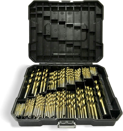 230PCs Professional Titanium Twist Drill Bit Kit Set with Storage Case for Metal and Wood, Plastic, Copper, Aluminum, Alloy - 1.5mm-10mm -