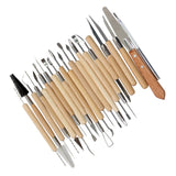 Arts Crafts Clay Sculpting Tools Set Wooden Handle Modeling Carving Tool Kit Pottery & Ceramics Accessories 22PCS - Volterin
