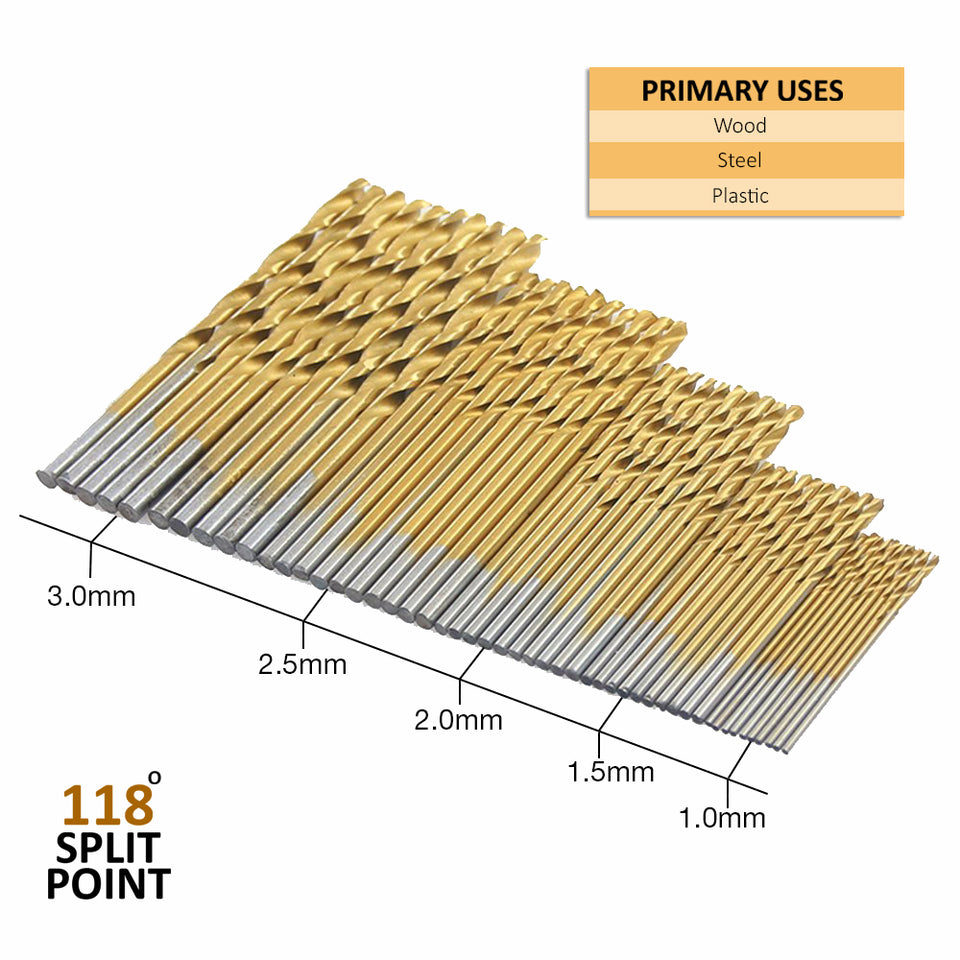 50Pcs Twist Drill Bit Set by Volterin, HSS Shank, Titanium Coated High Speed Steel, Mini Drill Bit, Micro Precision 1/1.5/2/2.5/3mm