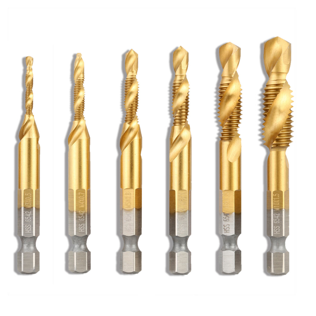 6 Pcs Drill Bit Set w/Carry Case by Volterin - Spiral Titanium Coated HSS 6542 Fluted Machine Screw Tap Kit Hex Shank Combination Drill Tap Bit M3-M10