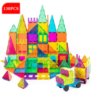 130 Pc Set Magnetic Blocks 3D Magnet Building Tiles Construction Playboards + 24PC Snow White Jigsaw Puzzle by Volterin, Full of Creativity - Volterin