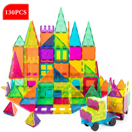 130 Pc Set Magnetic Blocks 3D Magnet Building Tiles Construction Playboards + 24PC Snow White Jigsaw Puzzle by Volterin, Full of Creativity