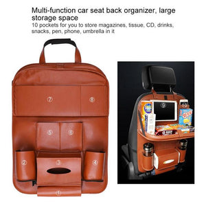 Multi-Purpose Car Back Seat Organizer, Foldable, With Touch Screen Tablet Holder, Leather Material - Volterin