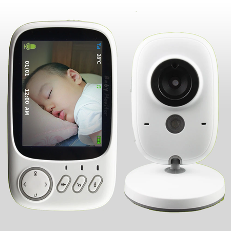 3.2 inch Wireless Video Color Baby Monitor High Resolution Baby Nanny Security Camera Night Vision Temperature Monitoring - Volterin