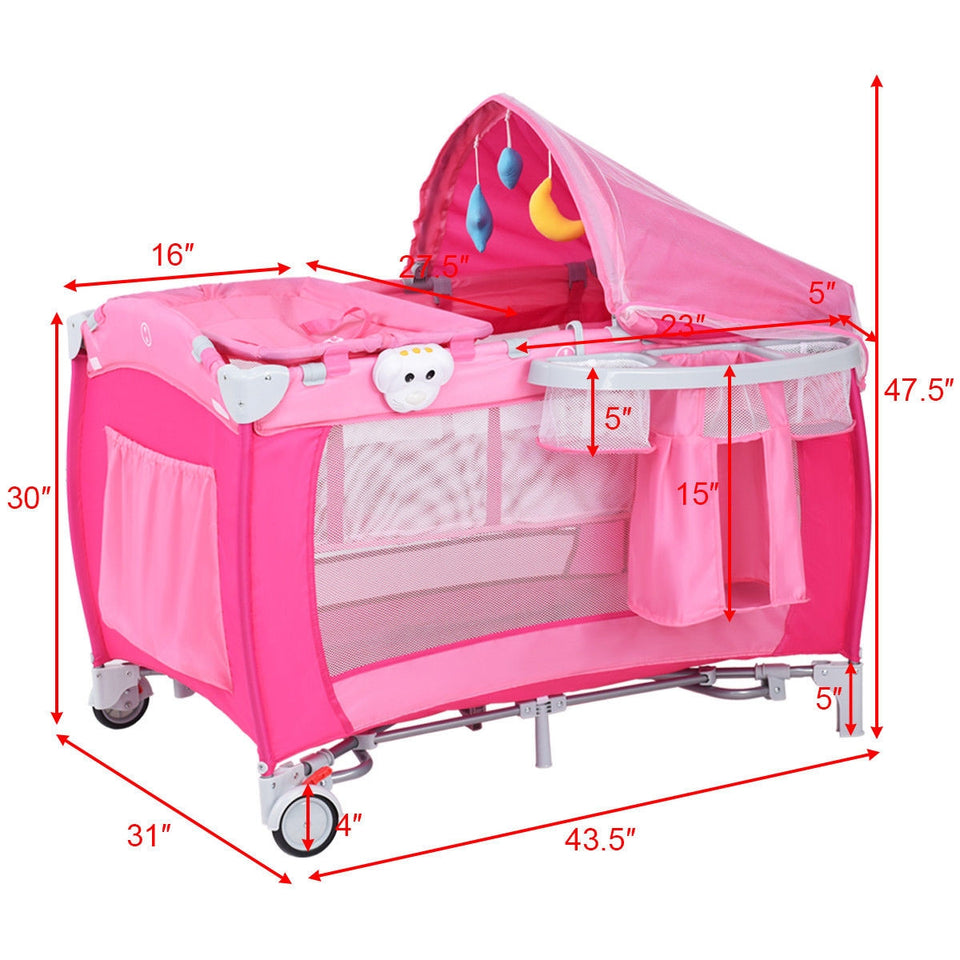 Foldable Baby Crib Playpen Travel Infant Bassinet Bed Mosquito Net & Bag