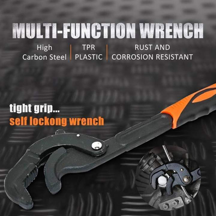 Universal Multi-Function Wrench Spanner Set, Tight Grip, Self-Locking Wrench
