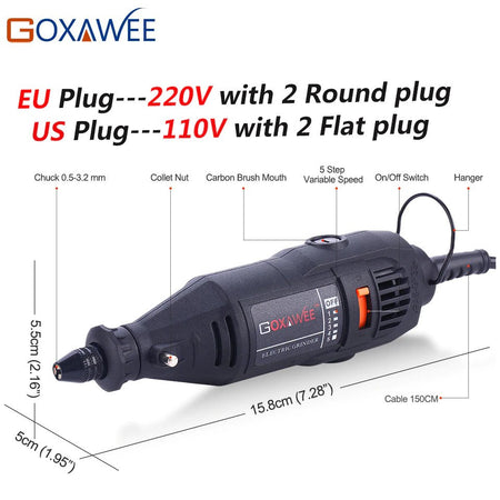 GOXAWEE 220V Power Tools Electric Mini Drill Enrgraver with 0.3-3.2mm Universal Chuck & Shiled Rotary Tools Kit Set For Dremel 3000 4000
