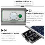 LED Auto Solar Street Light 21000LM 40W/80W/120W, 20/40/60 LED Outdoor Wall Street Lighting Security Sensor Lamp Motion Spotlight/ IPX6