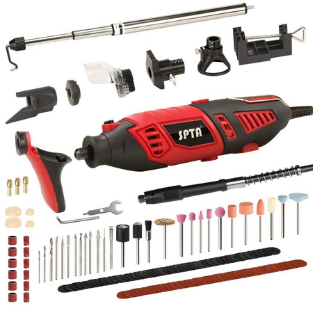 SPTA Rotary Tool Kit with 170W1.4A Electric Motor, Universal 3-Jaw Chuck, 10 Attachments&125 Accessories for Carving Grinding