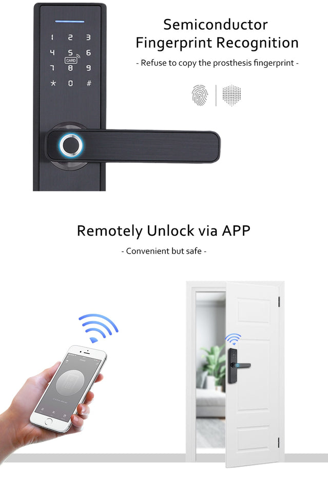 Biometric Fingerprint Lock, Security Intelligent Smart Lock With WiFi APP Password RFID Unlock,Door Lock Electronic Hotels - Volterin