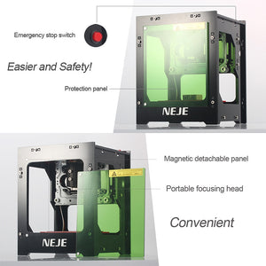 Laser Engraving Machine for Etching Metal, 3D, Wood and more - Professional DIY Desktop Mini CNC Laser Engraver