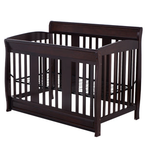 Coffee Pine Wood Baby Toddler Bed Convertible Crib Nursery Furniture Children Baby Bed, Wood - Volterin