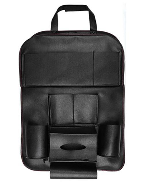 Multi-Purpose Car Back Seat Organizer, Foldable, With Touch Screen Tablet Holder, Leather Material