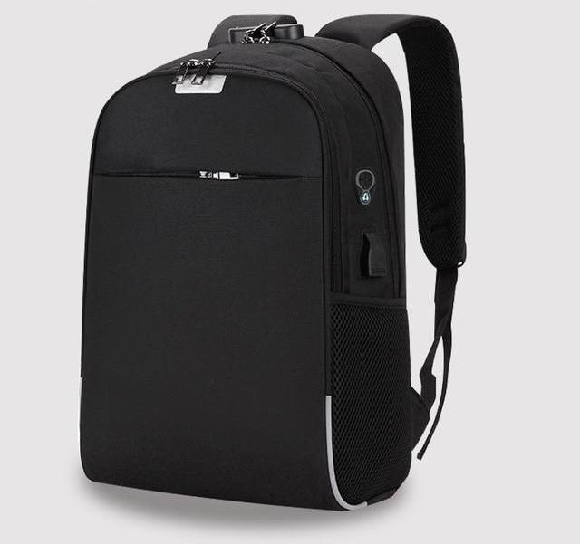 Anti-Theft Nylon Backpack, USB Charge Laptop Travel Bagpack, School Bag, Headphones Slot Unisex