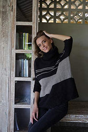 Turtleneck Loose Fit Tunic Sweater ¾ Sleeve Oversized Black Knit Striped Pullover Top Black Toffee S/M